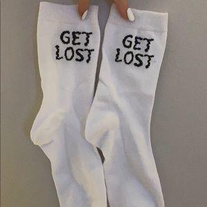 """white forever 21 """"get lost"""" socks"""